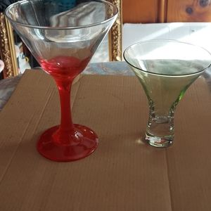Martini glasses big one and different one set 2